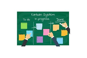 kanban system and office businessman