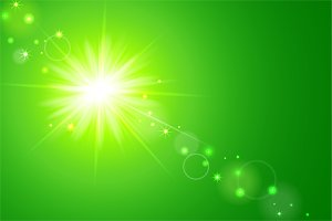 Sun and lens flare green background