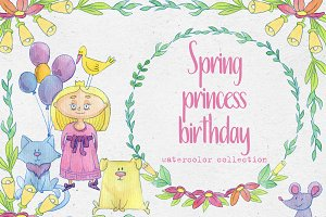 Princess day watercolor collection