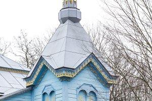Wooden blue orthodox church