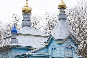 Wooden blue orthodox church
