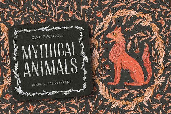 Mythical Animals Patterns Graphic Patterns Creative Market Delectable Animals With Patterns