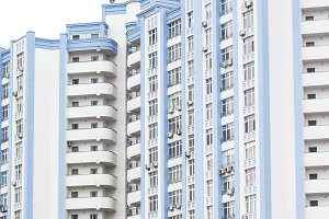 Blue high-rise building.