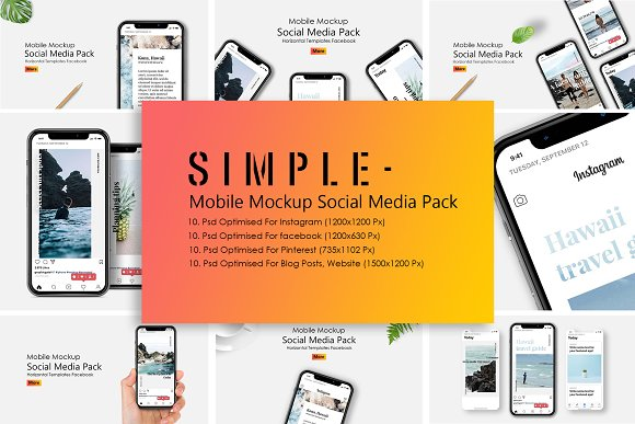 Download IPhone X Mockup Social Media Pack