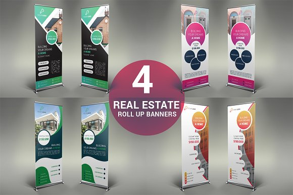 4 Real Estate Roll Up Banners