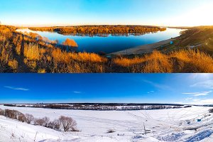 Winter and summer landscape of river. Beautiful lake background with trees and blue sky. Ponarama of nature is different seasons.