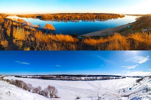 Winter and summer landscape of the river. Beautiful lake background with trees and blue sky. Ponarama of nature is different seasons.