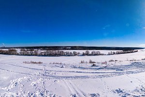 Winter landscape ponarama river. Beautiful lake background with trees and blue sky. Clear blue sky with clouds.