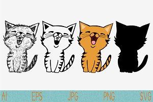 Cat set vector SVG PNG JPEG EPS