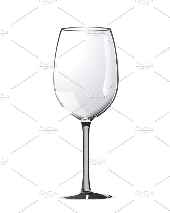 Bright Realistic Wine Glass On White
