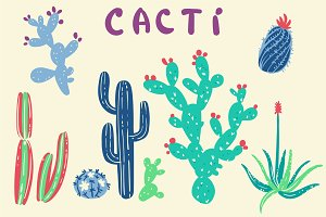 Cacti vector set & patterns