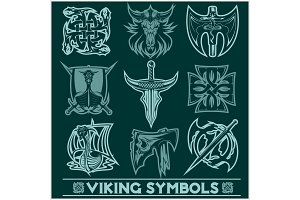 Set of Viking symbols icons vector.