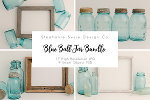 Vintage Blue Ball Jar Styled Mock Up