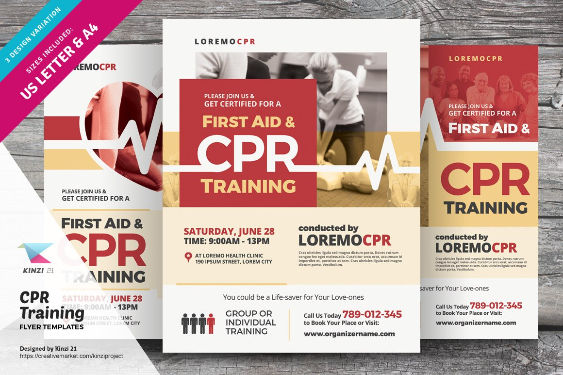 cpr training flyer templates flyer templates creative market. Black Bedroom Furniture Sets. Home Design Ideas