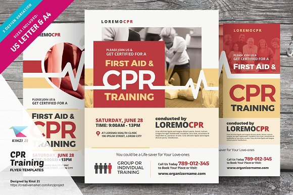 cpr training flyer templates flyer templates creative market