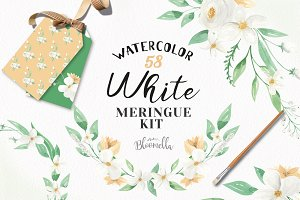 White Floral Watercolor Clipart Kit