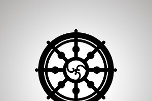 Dharma wheel, simple black icon