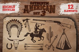 Set of american indian elements