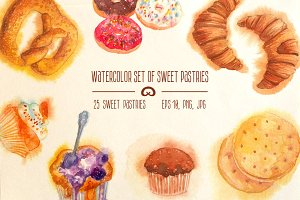 Watercolor set of sweet pastries
