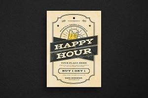 Vintage Happy Hour Beer Flyer