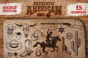 Set of cowboy designed elements