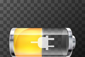Fifty percent glossy battery icon