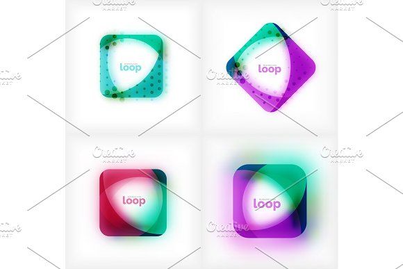 Set Of Vector Square Loop Business Symbols Geometric Icons Created Of Waves With Blurred Shadow