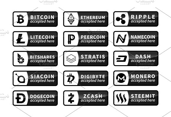 Cryptocurrency Accepted Here Badge