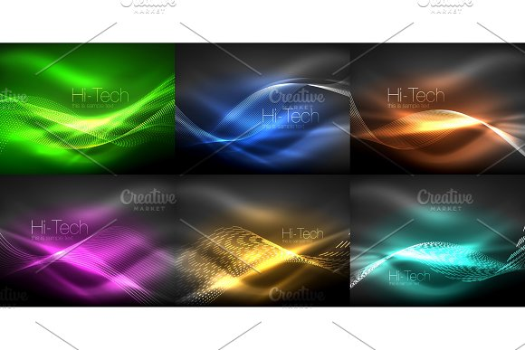 Glowing Wave Lines Background Collection Abstract Backgrounds