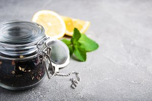Jar with black tea