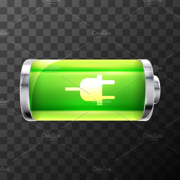 Battery Icon With Charging Symbol