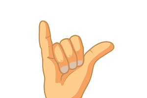 Cartoon hand in shaka gesture