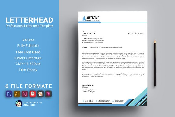 letterhead template stationery templates creative market