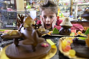 Child in the chocolate shop