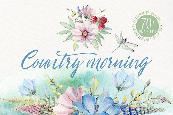 COUNTRY MORNING Watercolor Set