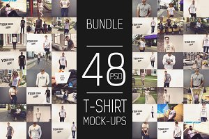 48 PSD T-shirt Mock-up Bundle