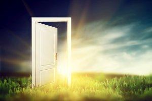 Door on the green field