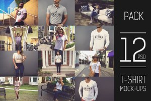 12 PSD T-shirt Mock-up Pack#4