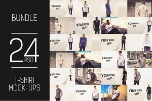 24 PSD T-Shirt Mock-up Bundle #1