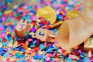 Jewish holiday Dreidel still life