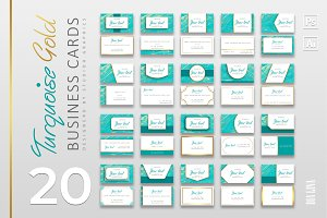 20 Turquoise-Gold Business Cards