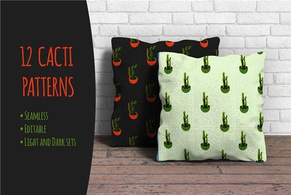 12 Surreal Cacti Seamless Patterns
