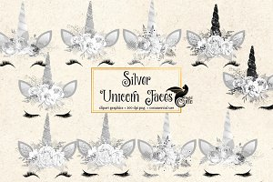 Silver Unicorn Faces