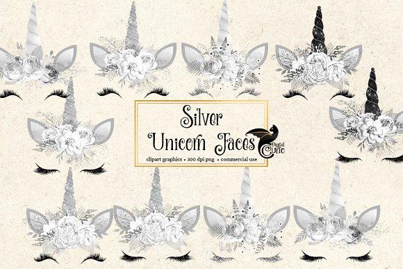 Silver Unicorn Faces