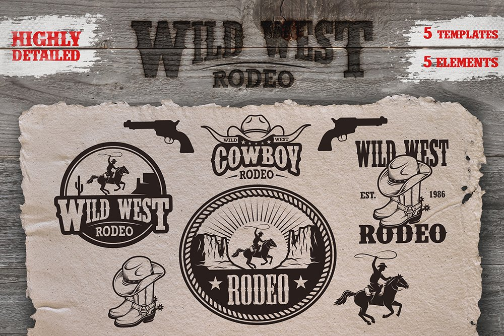 Set Of Cowboy Rodeo Emblems Logo Templates Creative Market