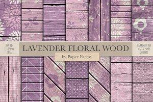 Rustic lavender floral wood