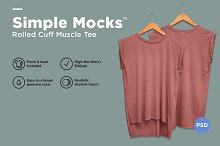 Rolled Cuff Muscle Tee Mockup
