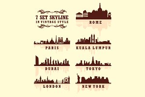 Set of Big City Skyline vector