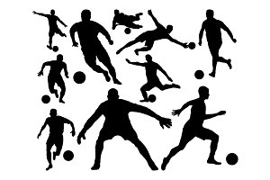 soccer silhouette set collection