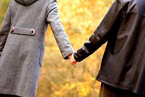 Couple in autumn scenery